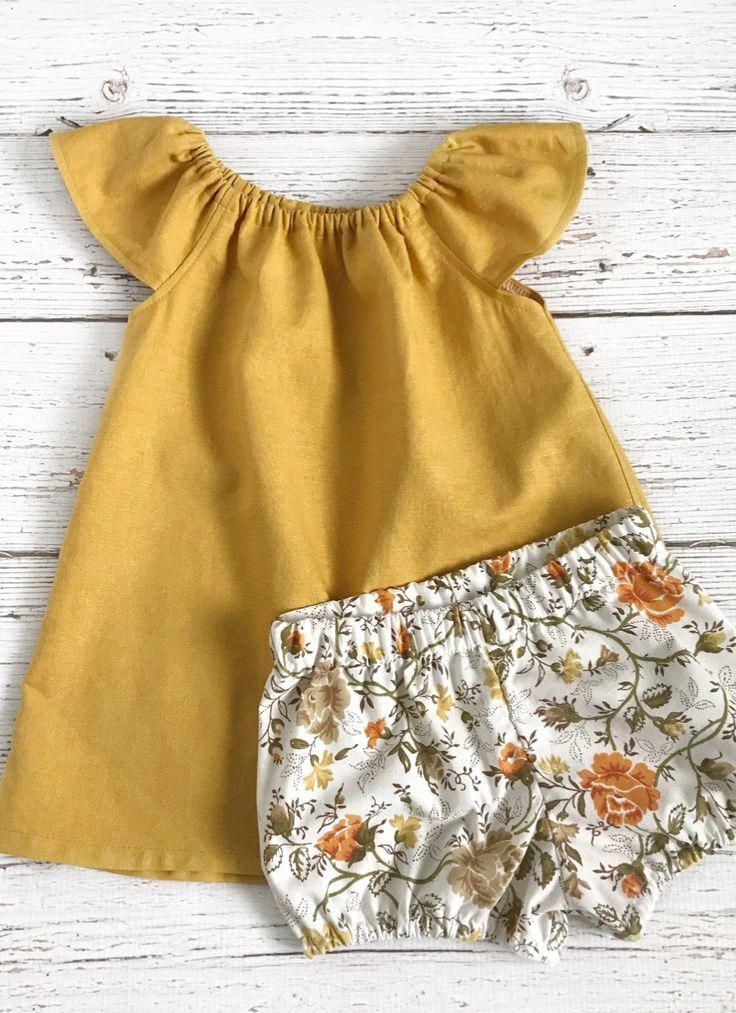 bfb0477f9d6 Handmade Linen Baby Toddler Dress  amp  Bloomers