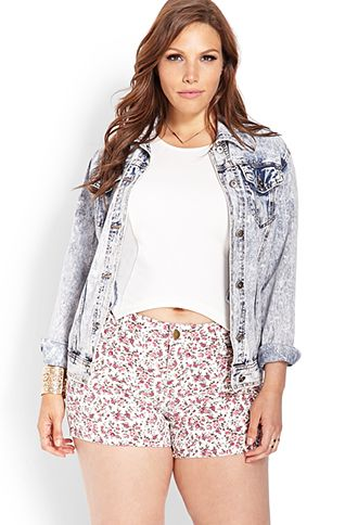 Wild Rose Denim Shorts | FOREVER21 PLUS - 2000124719