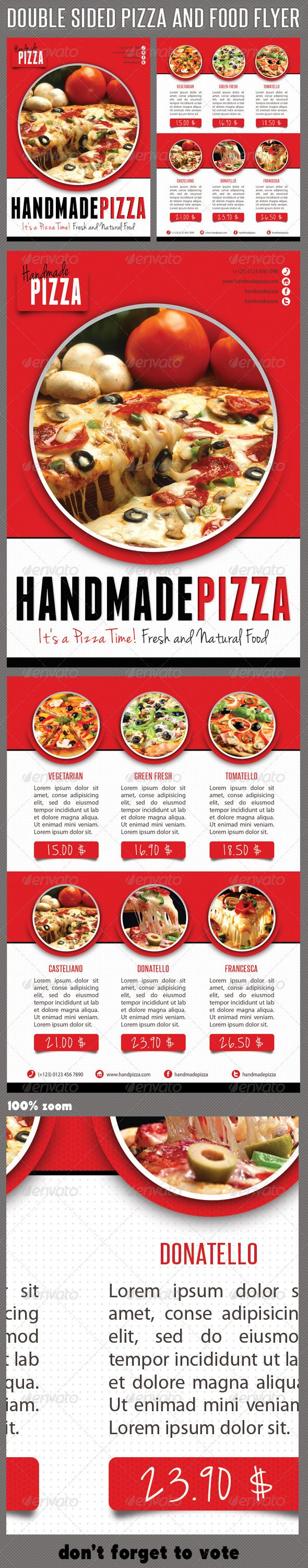 Food And Pizza Menu Flyer  #GraphicRiver         High impact Multiuse double-sided Food and Pizza Flyer template, perfect for restaurant, bar, fast food, stores, menu or business advertisement or product promotion!  Pack included: 	 	 2 PSD files 		 Double sided flyer 		 A5 – 210×148mm  		 154×216mm Print size 		 3mm Bleed each side 		 Print Ready 		 CMYK 		 300 dpi 		 High Quality  		 Bleeds, Guidlines, Safelines 		 Highly Organised Layers 		 Hand drawing shapes inside 		 Clean Design 		…
