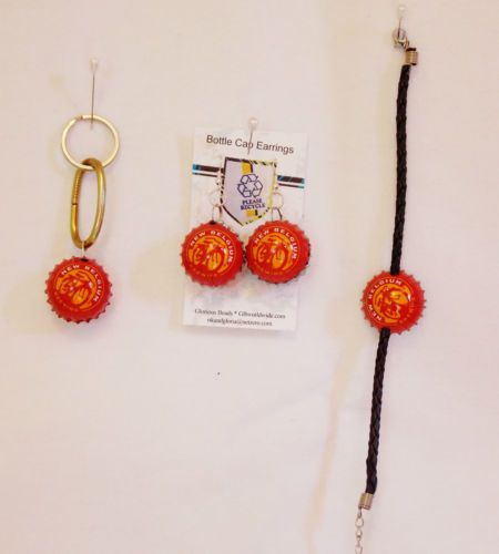 NEW-BELGIUM-Beer-Earrings-Bracelet-AND-Key-Chain-Set-Great-Gift-Hand-Crafted