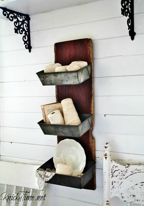 Salvaged Barn Wood and Bread Loaf Pans Wall Bins - KnickofTime.net