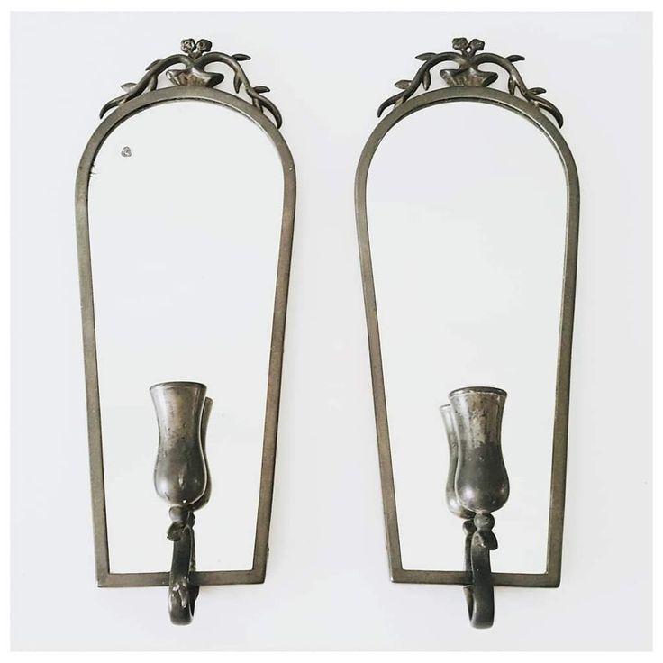 Nils Fougstedt for Svenskt Tenn Antique Pewter Mirror & Candle Wall Sconces Sweden