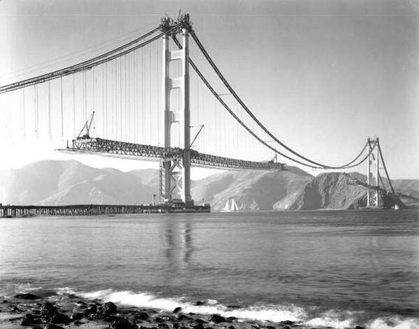 28.) The construction of the Golden Gate bridge in San Francisco (1937).