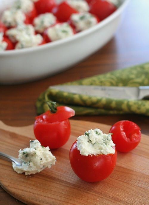 Cherry tomatoes stuffed with goat cheese, garlic and basil. An easy low carb appetizer recipe that will please at any get-together. You know when you decide to host a get-together and you have gran…