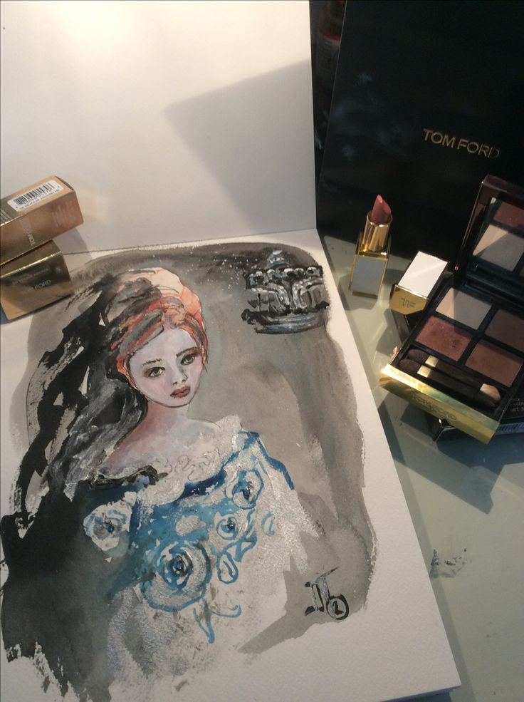 Fashion illustration with Tom Ford beauty products.