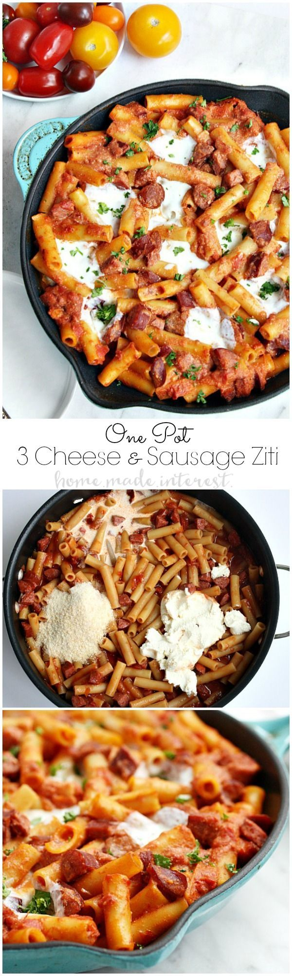 Parmesan, Mozzarella, Riccotta cheese, and sausage in a creamy tomato sauce cooked with ziti noodles. This one pot recipe makes an easy weeknight meal for the whole family. Everyone loves baked ziti and this simple one pot baked ziti recipe doesn't disappoint! #DeliciousDinners #ad