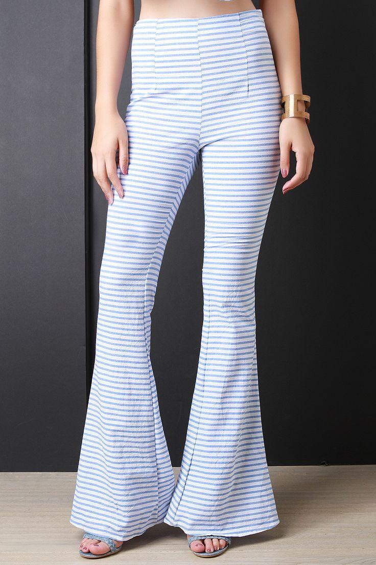 Horizontal Stripe Bell Bottom Pants