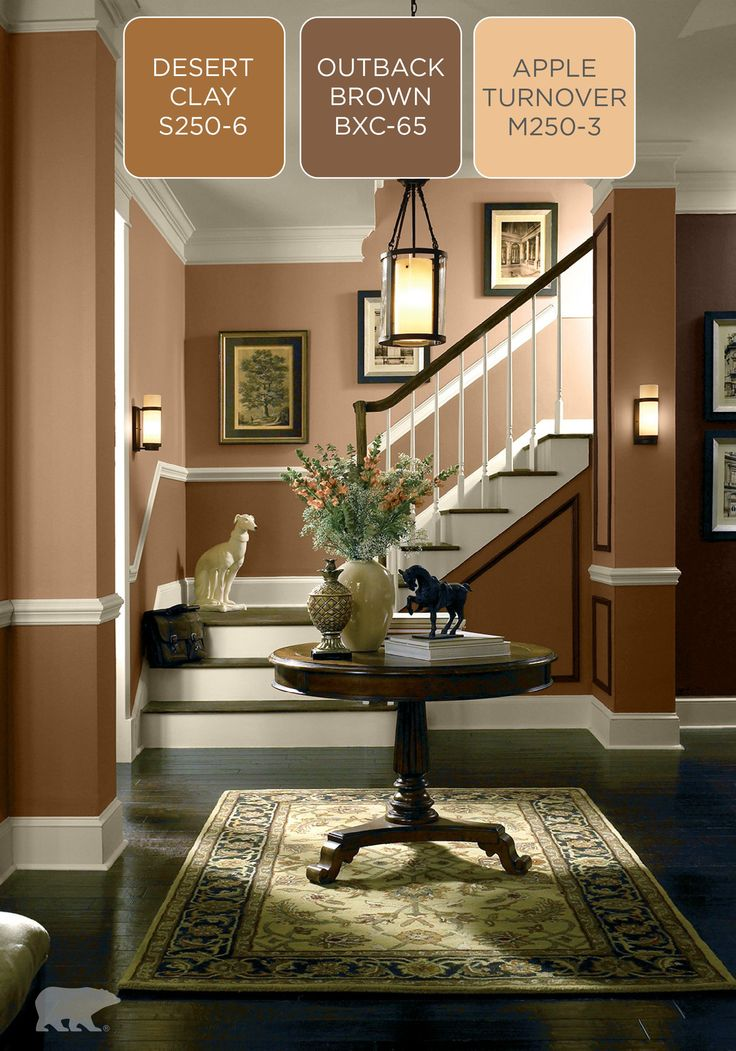 Find the right brown hue for your next home remodel with these inspiring BEHR paint color palettes. Try Desert Clay, Apple Turnover, and a pop of Outback Brown for a dynamic tonal room.