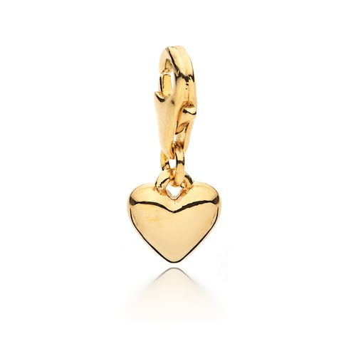 Petite Droplet Heart Charm Gold Plated