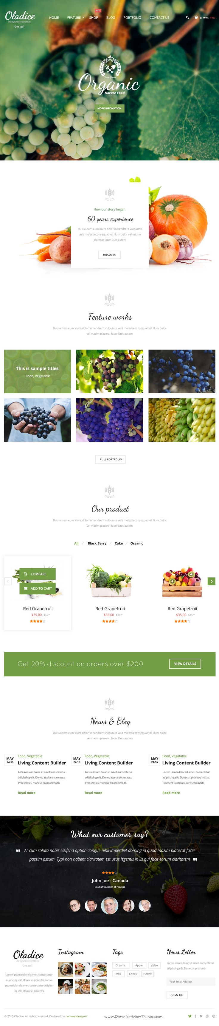 Oladice is clean and elegant design PSD Template for Organic Farms website. Download Now!