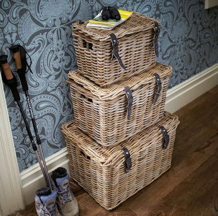 Fisherman's Wicker Basket - Large - Wicker Basket | Wicker Vegetable Baskets | Seagrass Storage Box | Wicker Stair Basket