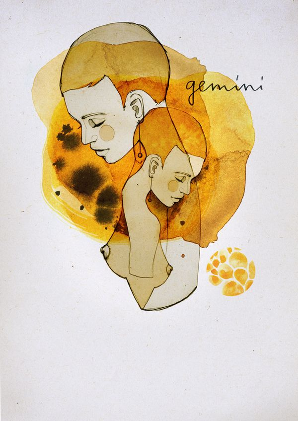 """Gemini"" series poster from Zodiac Signs, by Ekaterina Koroleva."