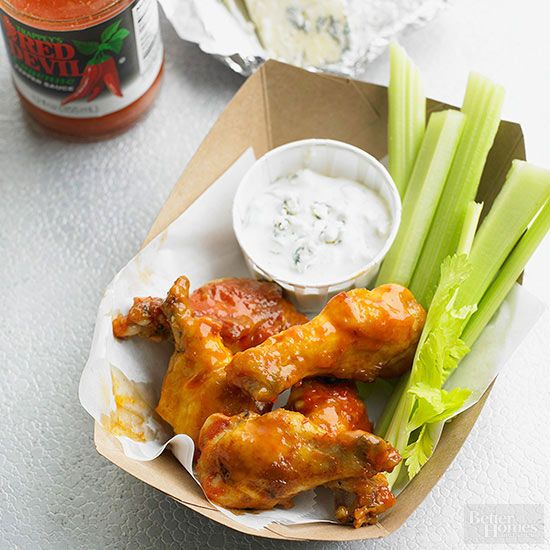 It would hardly be game day without a sticky pile of chicken wings and cool blue cheese dipping sauce.