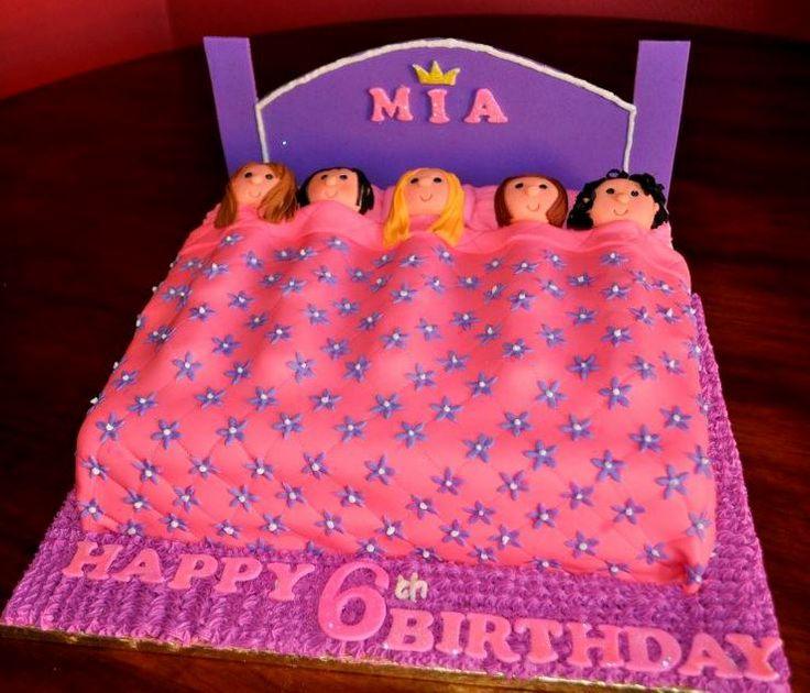 little girl sleepover cake pink and purple