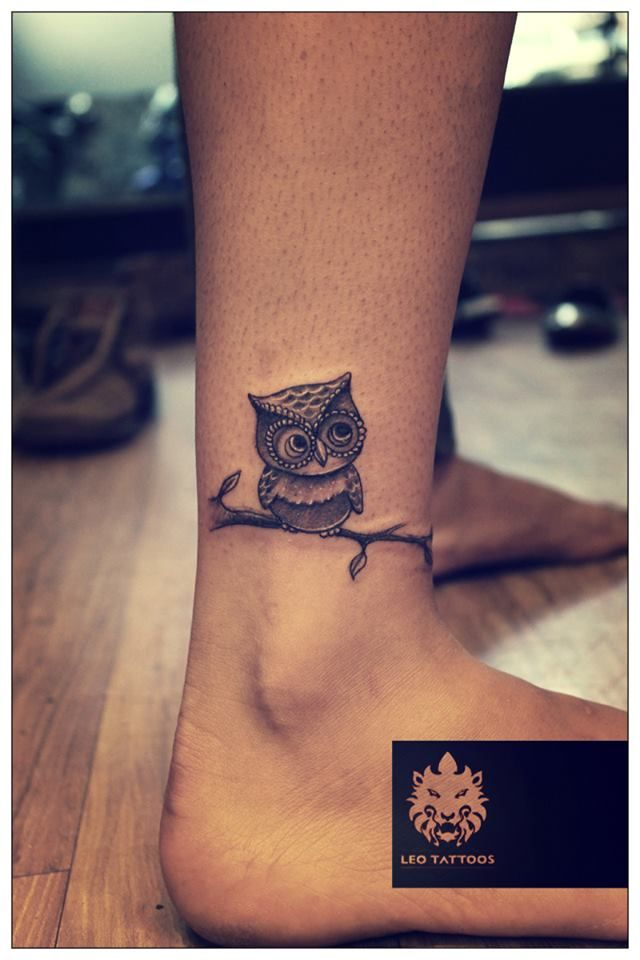 Perfect Small Owl Ankle Tattoo Design