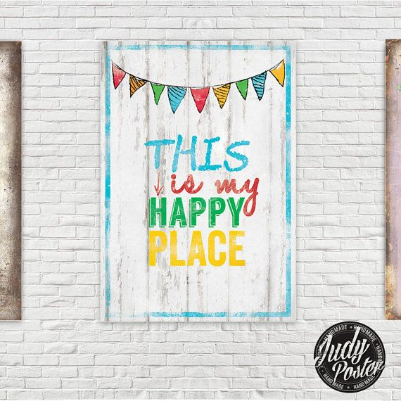 Vintage Wall Decor Happy Place poster by Judydesignstore on Etsy