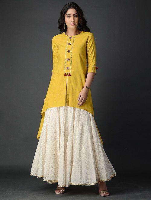 05711bd048f3b Yellow Block-printed Handwoven Khadi Kurta in 2019 | classi | Khadi ...