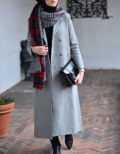 gray coat hijab chic, Hijab chic from the street http://www.justtrendygirls.com/hijab-chic-from-the-street/