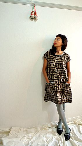 Blue pom pom brown batik dress by verypurpleperson
