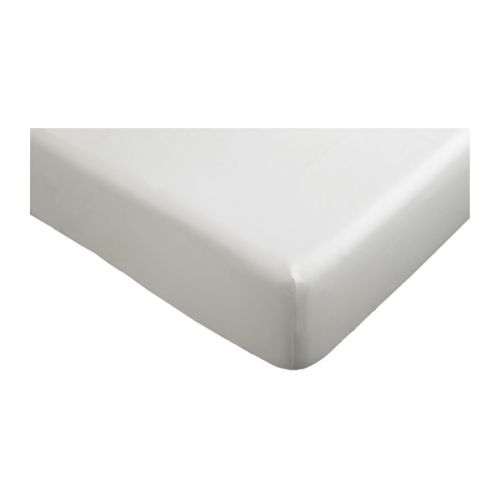 """IKEA - KNOPPA, Fitted sheet, , The polyester/cotton blend is easy to care for since the fabric is less liable to shrink and crease.Fits mattresses with a thickness up to 10"""" since the fitted sheet has elastic edging."""