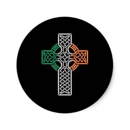 Celtic Cross Ireland Flag Classic Round Sticker - craft supplies diy custom design supply special