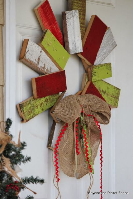 12 Days of Christmas, Scrappy Wood Wreath 12 days of Christmas Scarp wood wreath http://bec4-beyondthepicketfence.blogspot.com/2013/11/12-days-of-christmas-day-9-scrappy.html