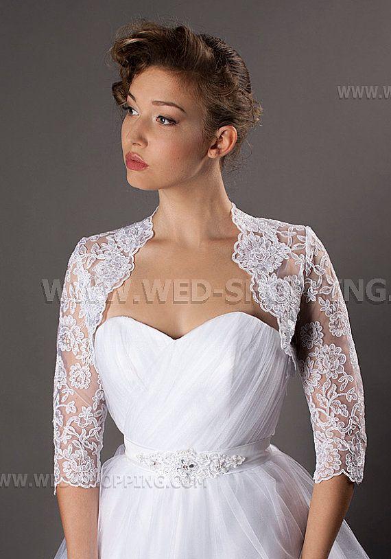 White bolero jacket for wedding dress