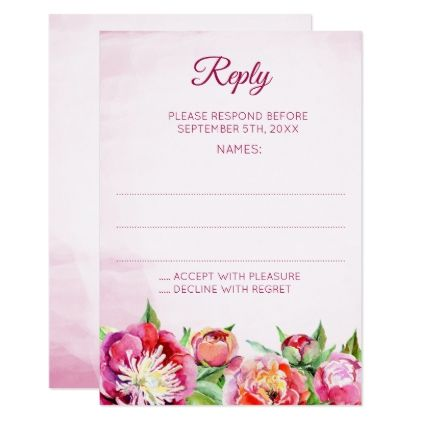Pretty Peonies Floral Wedding Reply Cards - wedding invitations diy cyo special idea personalize card