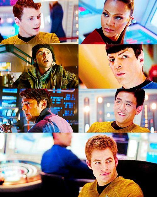 The new Star Trek crew (Chekov, Uhura, Scotty, McCoy, Sulu, and Kirk)