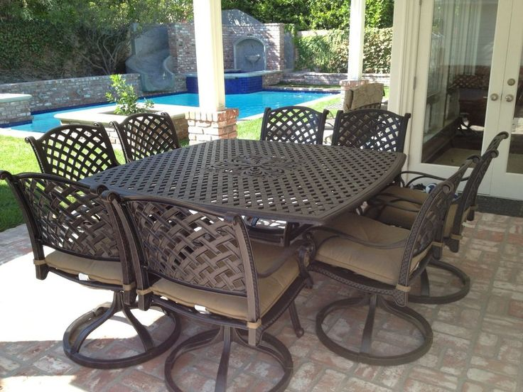 9 Pc Nassau Cast Aluminum Outdoor Patio Dining Set With Table   Antique  Bronze #HeritageOutdoorLiving