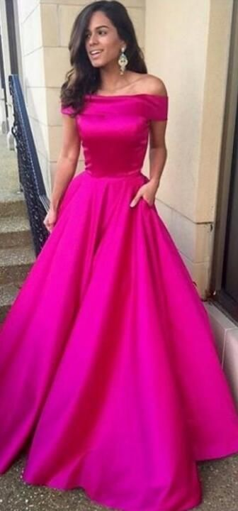 4d602f276e5 gorgeous off the shoulder hot pink long prom dress