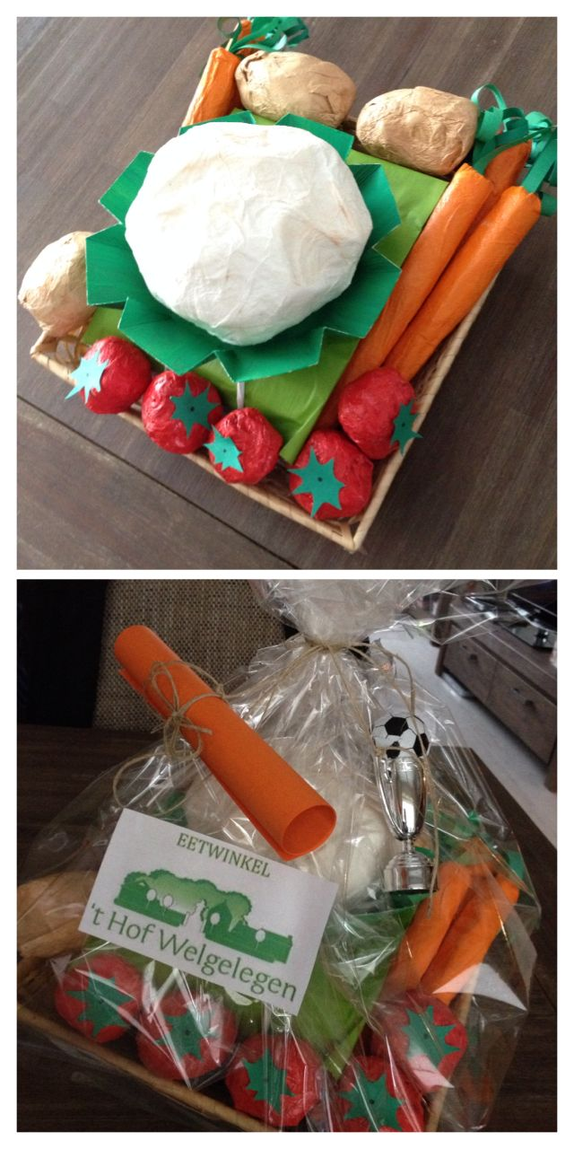 Surprise biologische groentemand #surprise #groente #papier-maché #sinterklaas