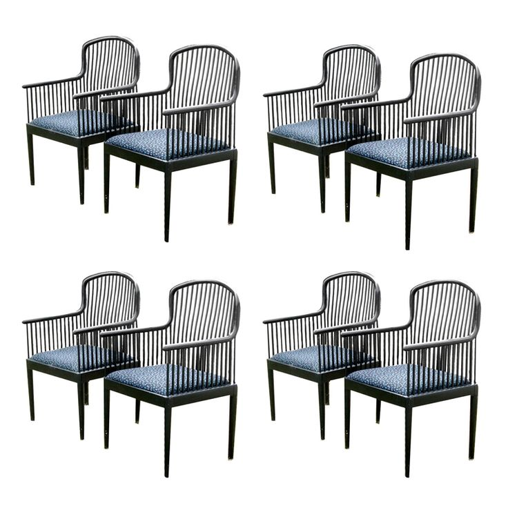 Eight Andover Ebonized Dining Chairs By Stendig Modern Room