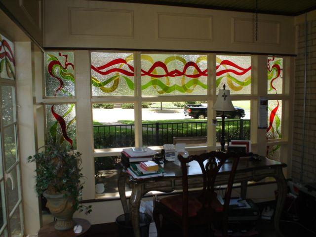 Custom fused glass installation by Barbara Draughon