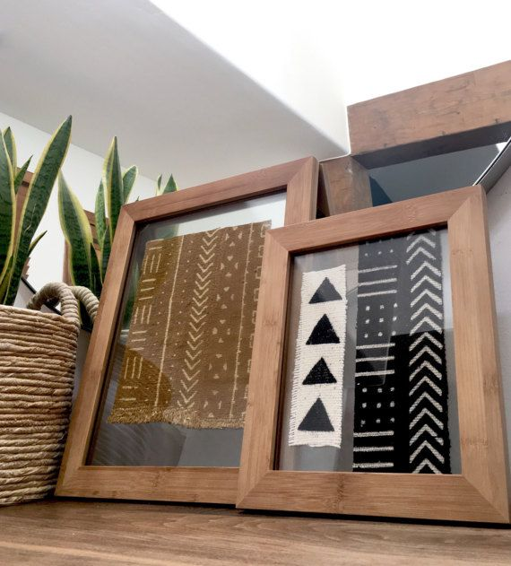 Authentic Vintage African Mudcloth Displayed In 11x14 Or 8x10 Bamboo Float Frame Can Be Purchased As A Set Or I African Decor African Wall Art Mudcloth Decor