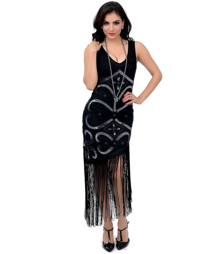 1920s Style Sequin Beaded Tennessee Fringe Flapper Dress