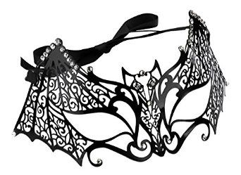 Laser Cut Bat Venetian Mask with Rhinestones