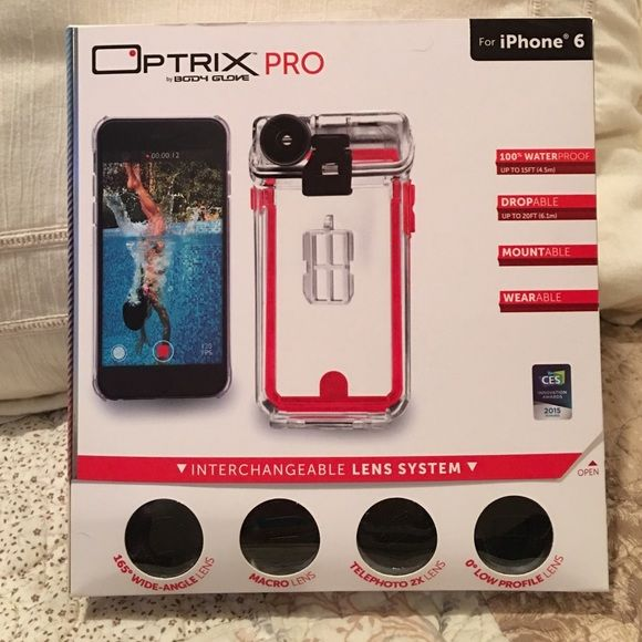 Optrix iPhone 6/6s WATERPROOF Case & Lenses Optrix Pro 4 Lens Kit & Case by Body Glove - comes with Everything Shown in 1st Photo. Perfect for Use in Any Outside Activity that involves Water/Sand. Used - Works Perfectly surface blemishes only. Waterproof to 33' -exceeds MIL-STD-810G Military Standards; Drop Proof from up to 20'; 4 Differ Lenses with covers - 0° Regular, 165° Wide-Angle, 2x Telephoto, & Macro; Floating Wristband; Lens Case. Last Photo Shows the info on the differ lenses that…