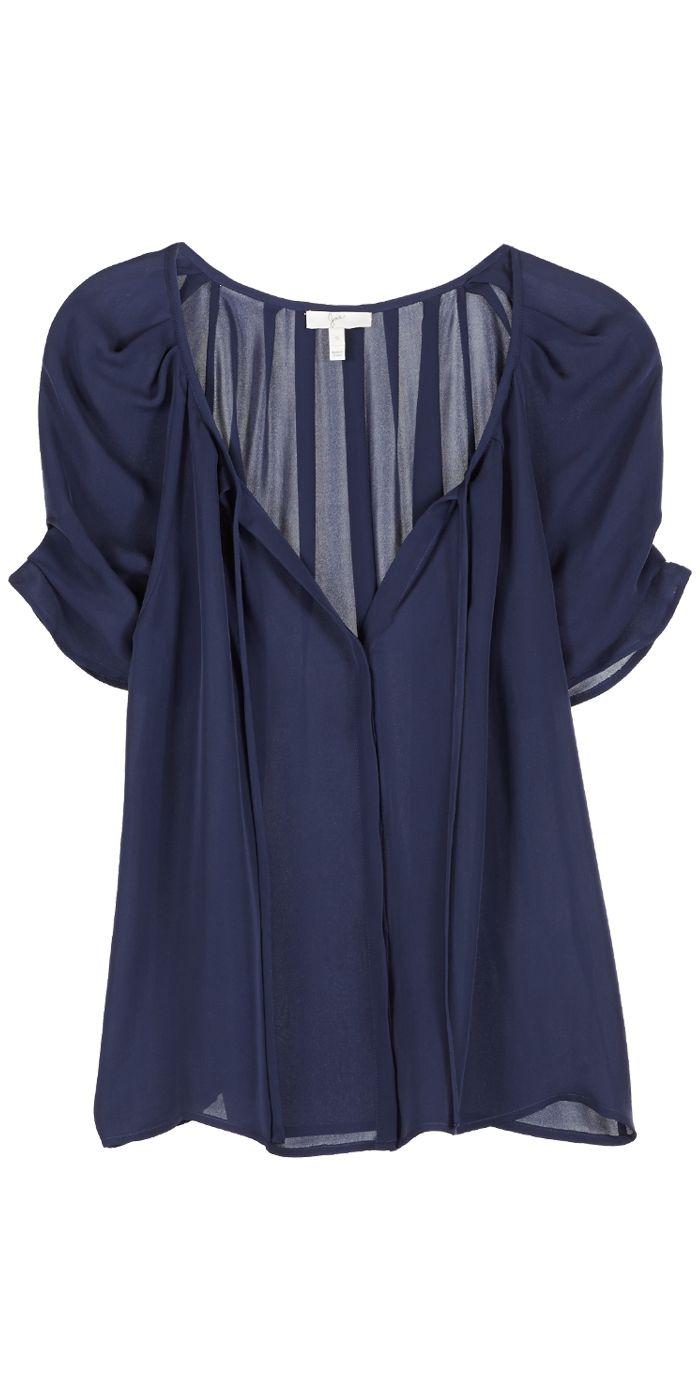 JOIE Berkeley Short Sleeve Navy Blue Silk Blouse