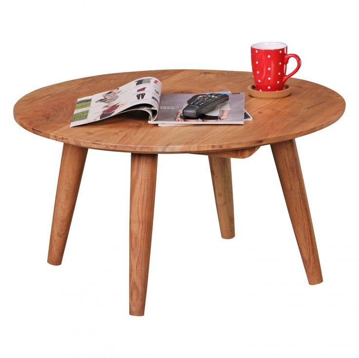 WOHNLING Couchtisch Massivholz Akazie Wohnzimmertisch Rund Ø75 X 40 Cm  Beistelltisch Mit 4 Beine Jetzt Bestellen