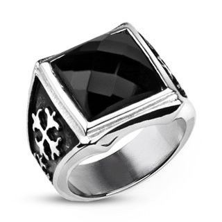 Royal Cross Signet - Elegant Design Dark Reflective Square-Cut Cubic Zirconia Stainless Steel Comfort-Fit Ring. #BuyBlueSteel #Jewelry