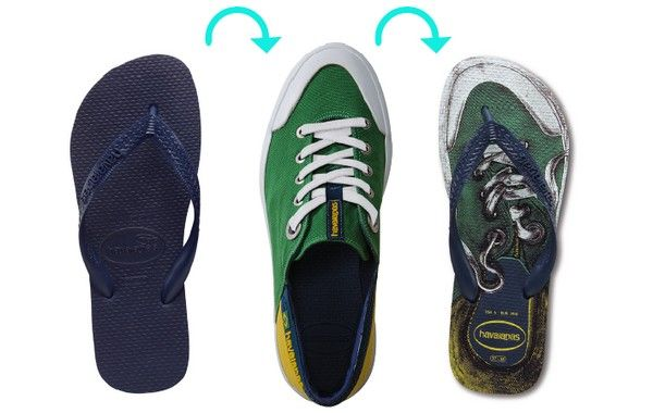 After designing a sneaker collection inspired flip flops, Havaianas has decided to create a flip flop inspired by sneakers … The Top Soul, designed by a young designer, who won a contest in Brazil. This replica virtually identical version of the flip flops displays a resolutely modern urban look and impertinent, available in three different colors.