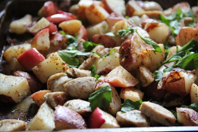 Dijon Potatoes with Apples & Chicken Sausage - used turkey sausages ...