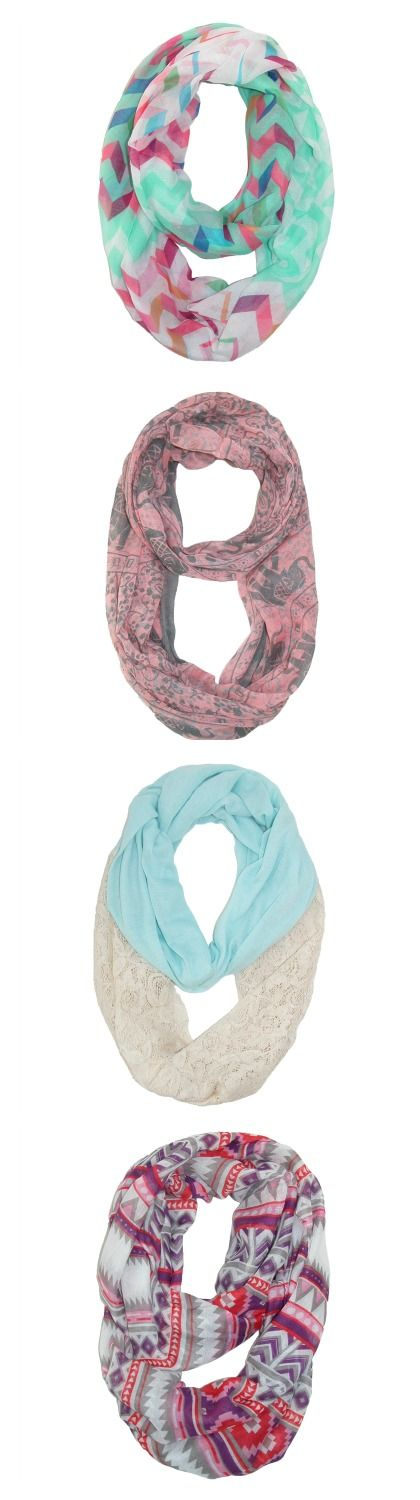 Add to your spring wardrobe without breaking the bank with our infinity scarves. Discover a variety of beautiful and colorful scarves that are must-haves for spring! Fashion doesn't have to be expensive, we have great deals all year long!