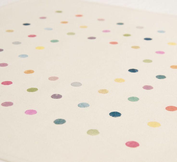 středovka - puntíkatá 100% bavlna ručně malováno 50x50cm