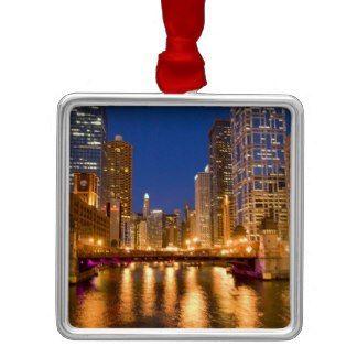 Chicago Christmas Ornament Night Skyline