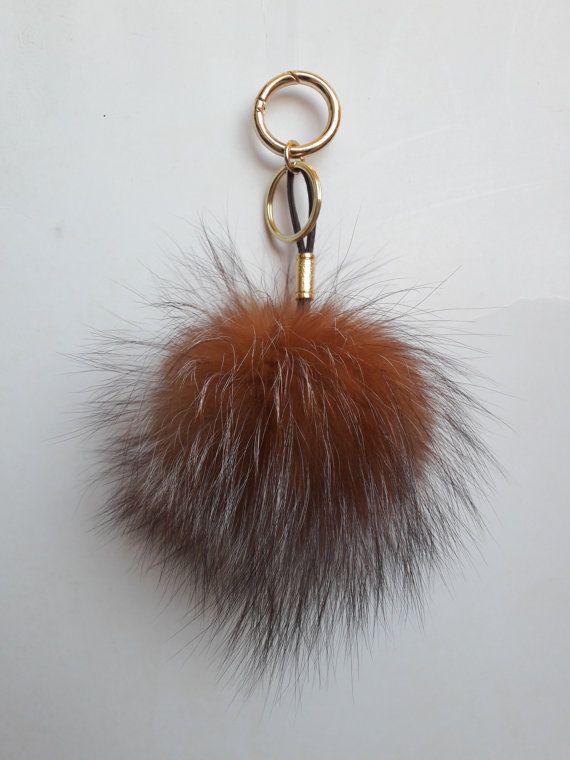 REAL FOX FUR Pom Pom keychain/keyring  by DamianKastorianFurs