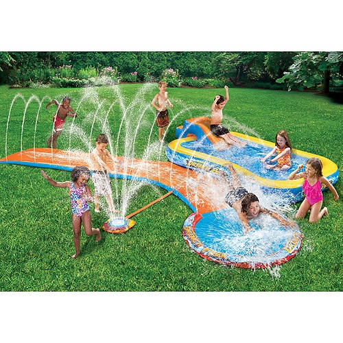 Banzai Splash Park Inflatable Water Sprinkling Slide And