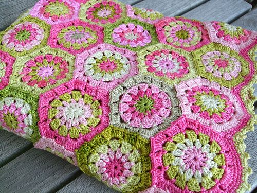 I love the colors together! This pink and green af-granny is a fun design to work up.