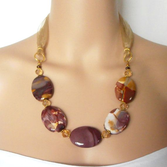 Chunky Gemstone Necklace Big Bead Jewelry Semi Precious Stone Necklace Burgundy and Gold Chunky Bead Jewelry Office Style Gift Idea for Mom